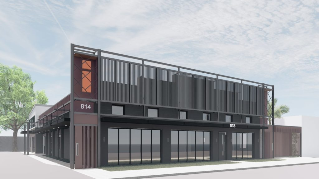 architectural rendering of a free standing building with dark brown metal cladding and large letter I